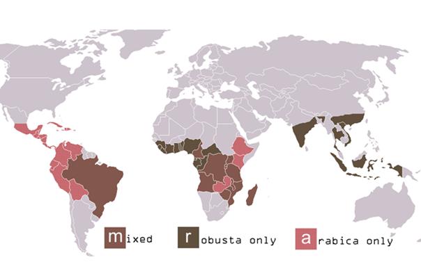 Mapa světa kávy